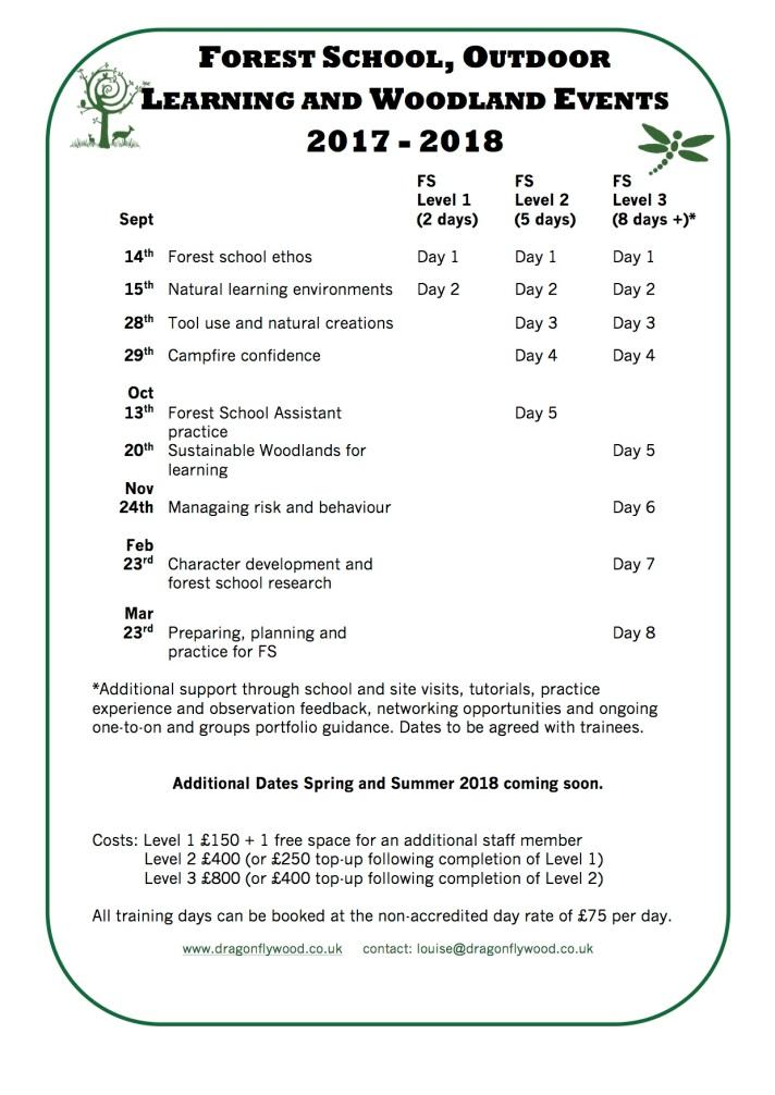 Dragonfly Wood Training Dates 2017